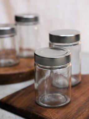 Glass Food Jar (Silver)